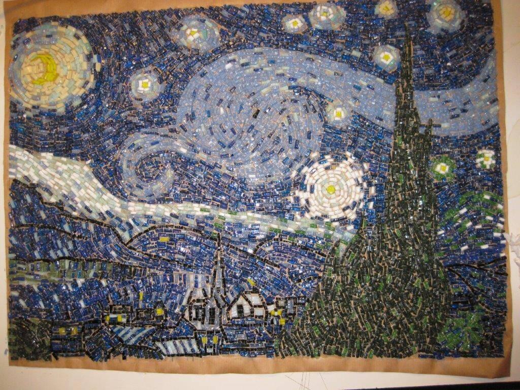 La Notte stellata di Van Gogh in mosaico